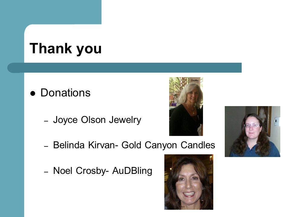 Thank you Donations Joyce Olson Jewelry