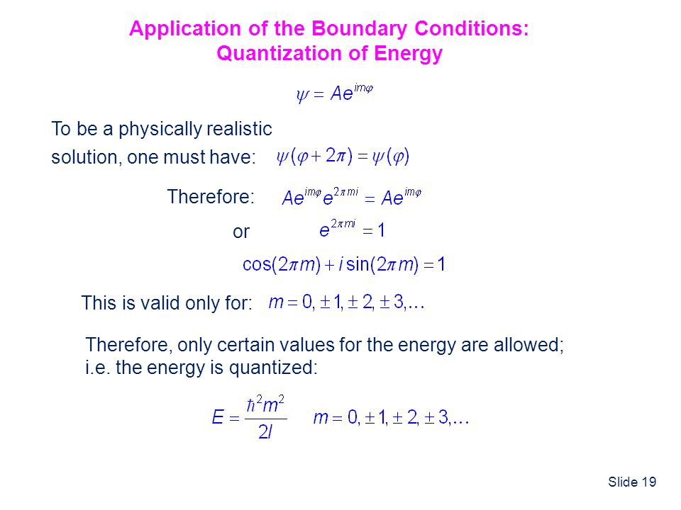 Application of the Boundary Conditions: Quantization of Energy