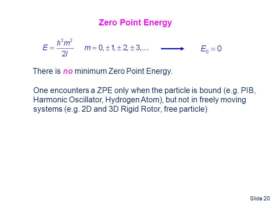 Zero Point Energy There is no minimum Zero Point Energy.