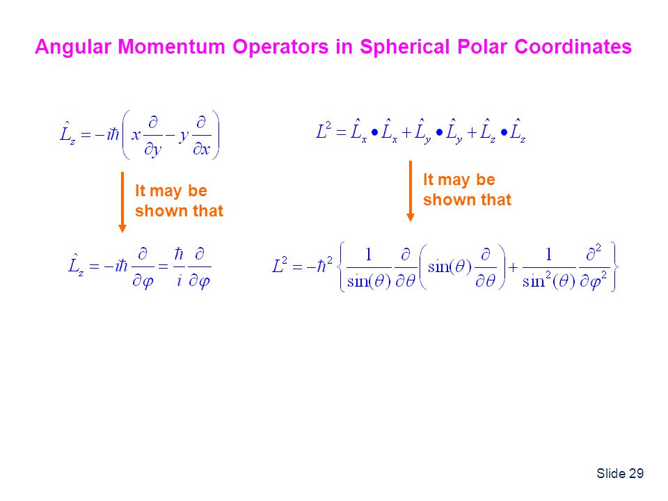 Angular Momentum Operators in Spherical Polar Coordinates