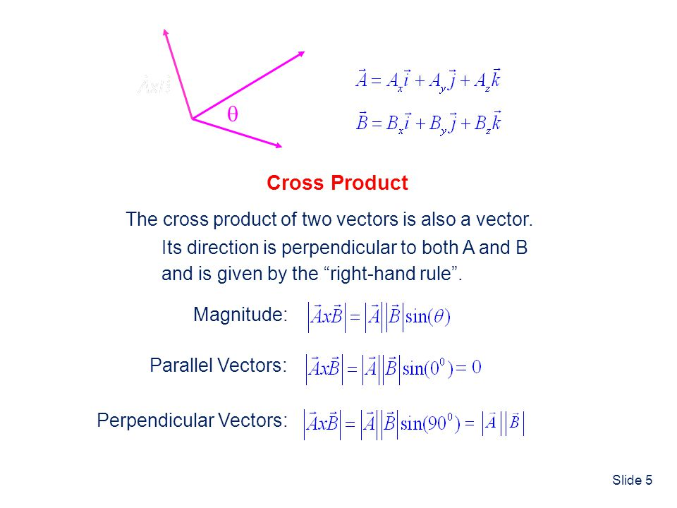  Cross Product The cross product of two vectors is also a vector.