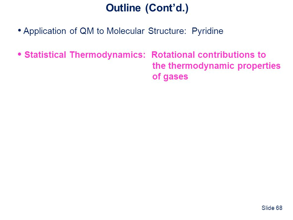 • Application of QM to Molecular Structure: Pyridine