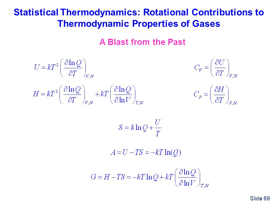 Statistical Thermodynamics: Rotational Contributions to Thermodynamic Properties of Gases