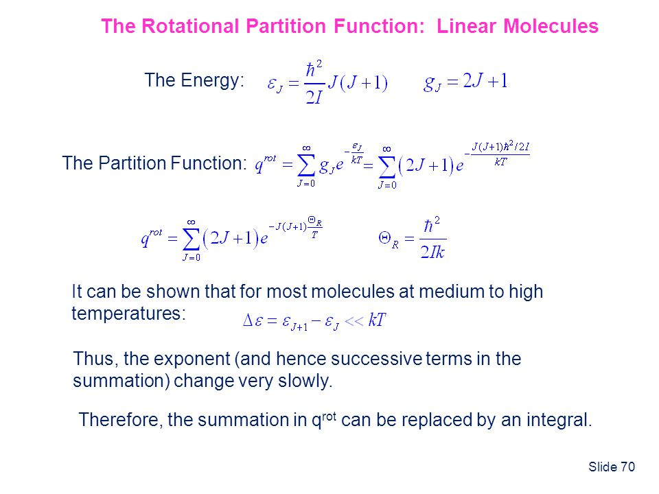 The Rotational Partition Function: Linear Molecules