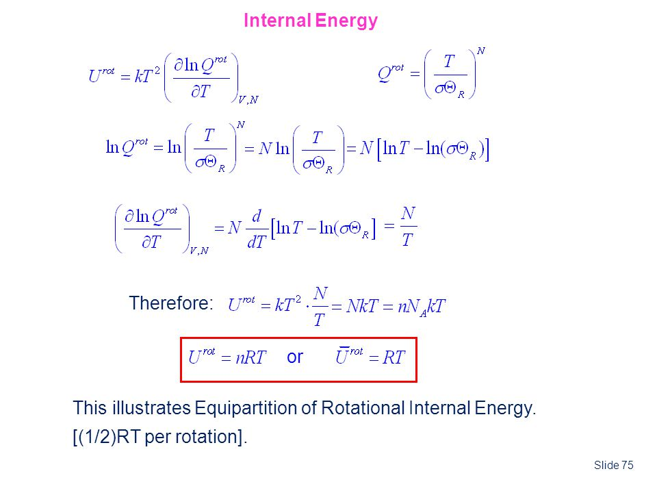 Internal Energy Therefore: or. This illustrates Equipartition of Rotational Internal Energy.