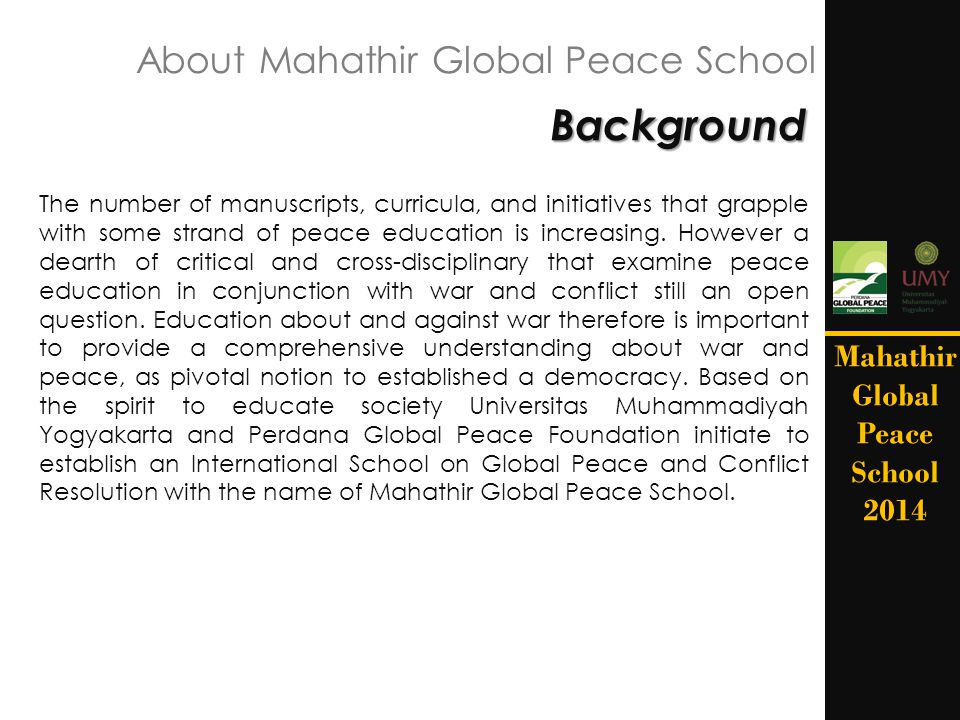 About Mahathir Global Peace School
