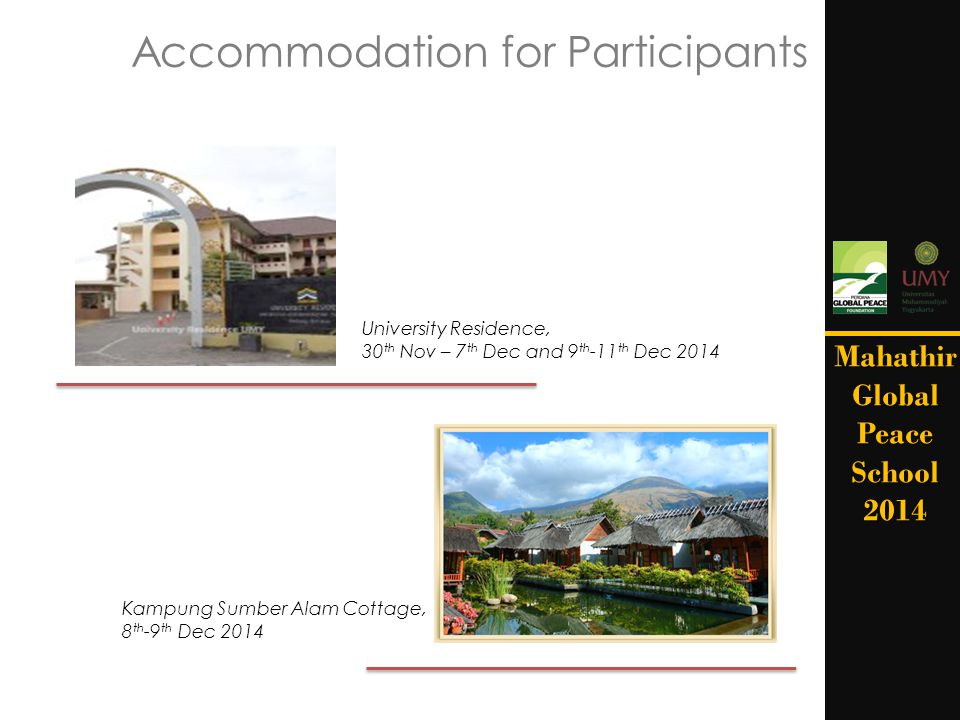 Accommodation for Participants