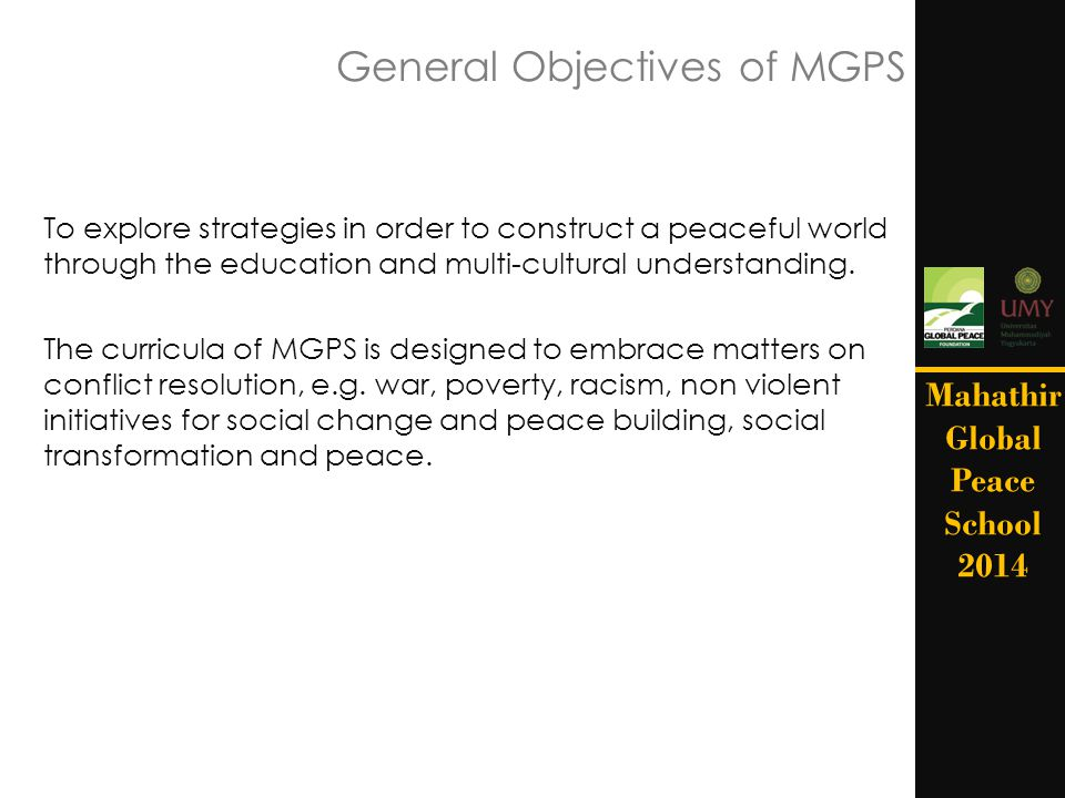 General Objectives of MGPS