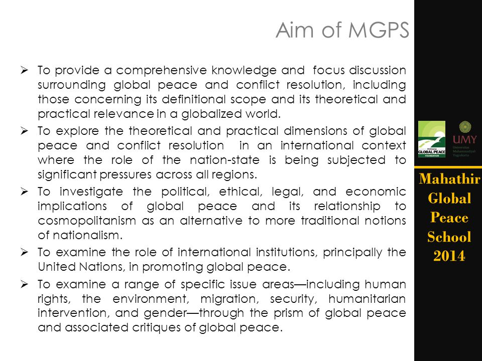Aim of MGPS Mahathir Global Peace School 2014