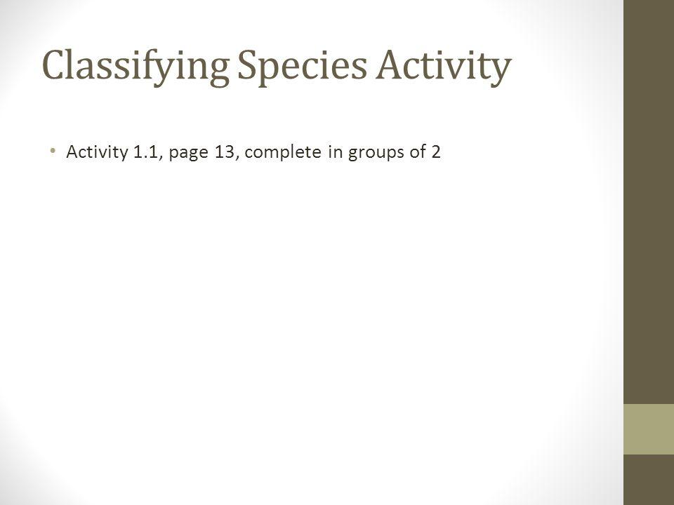 Classifying Species Activity