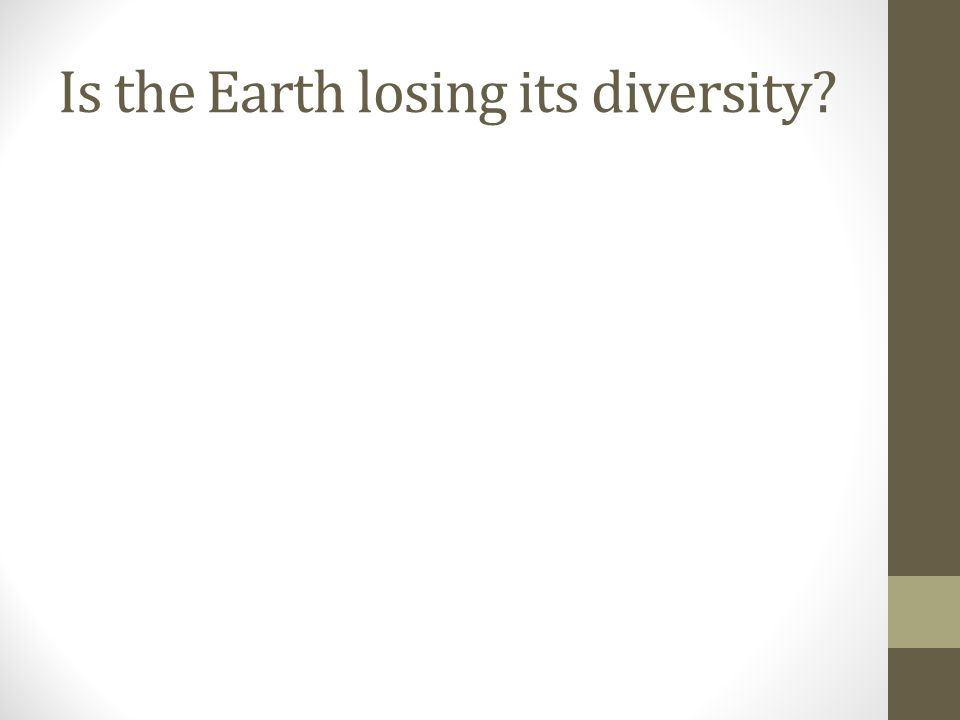 Is the Earth losing its diversity