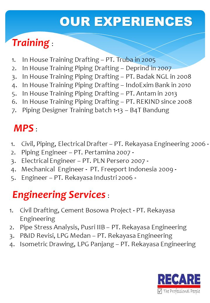 OUR EXPERIENCES Training : MPS : Engineering Services :