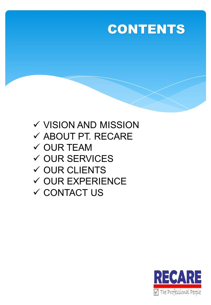 CONTENTS VISION AND MISSION ABOUT PT. RECARE OUR TEAM OUR SERVICES