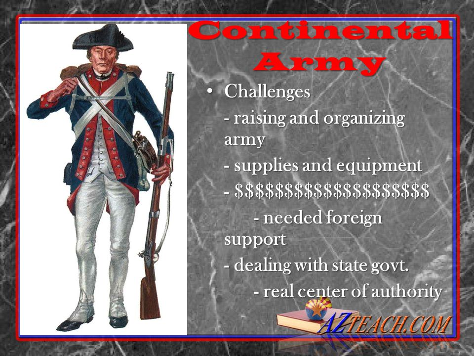 Continental Army Challenges - raising and organizing army