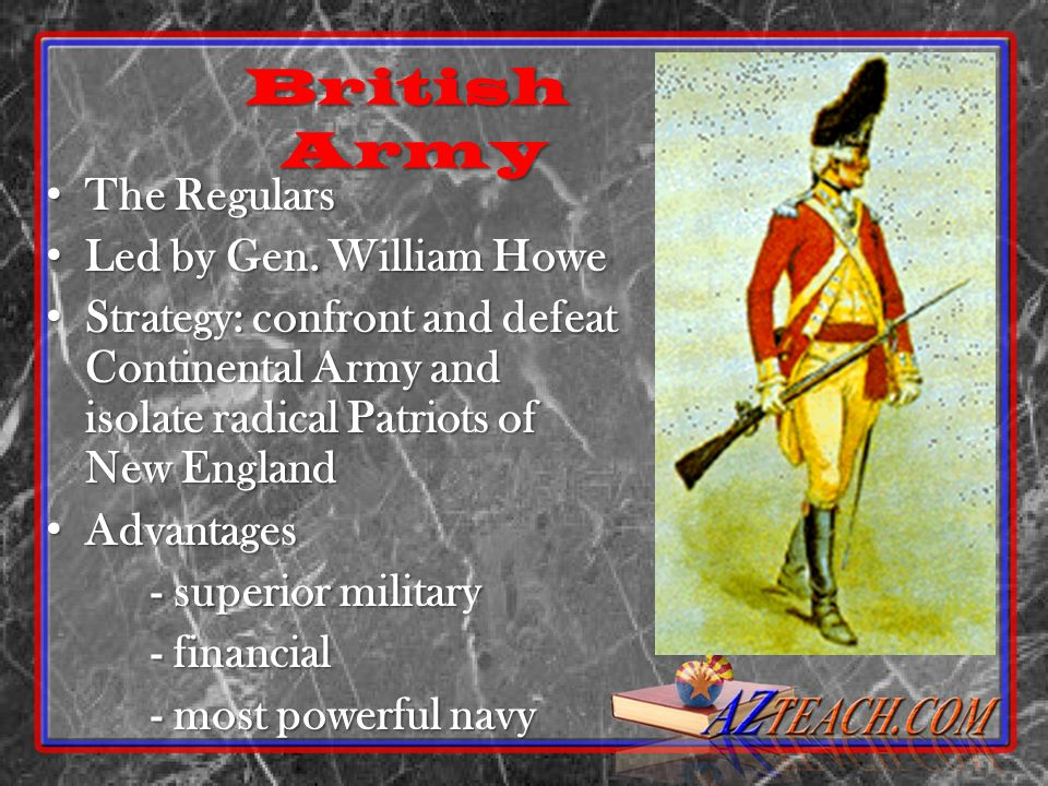 British Army The Regulars Led by Gen. William Howe
