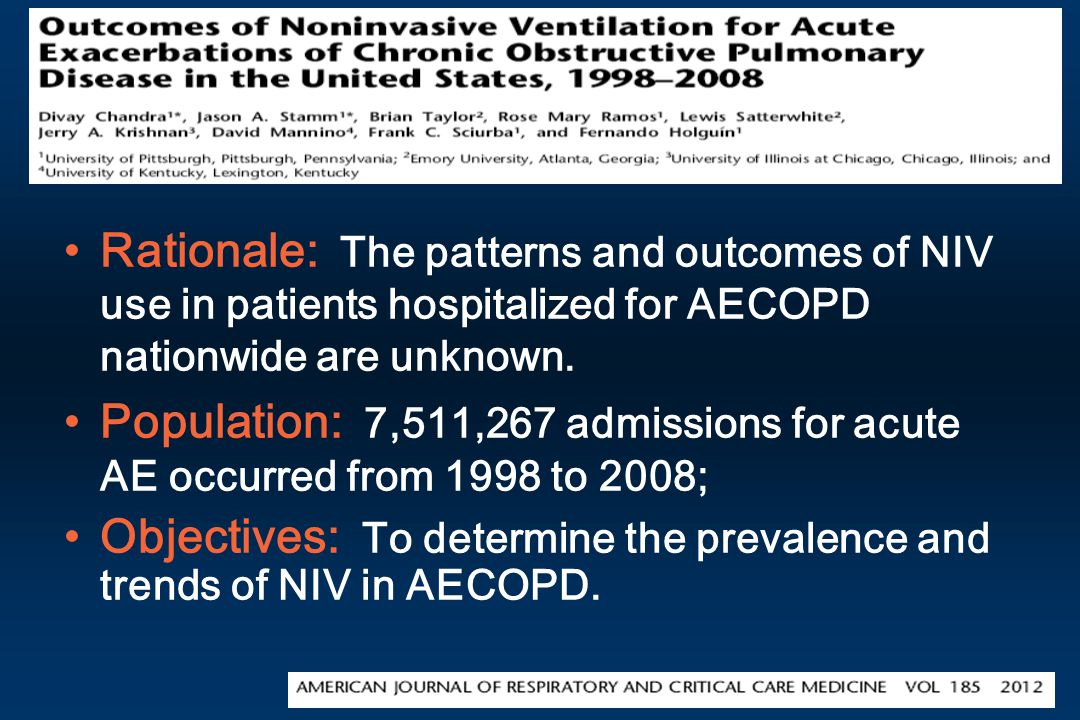 Rationale: The patterns and outcomes of NIV use in patients hospitalized for AECOPD nationwide are unknown.