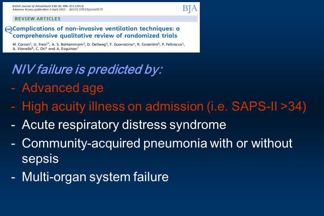 NIV failure is predicted by: