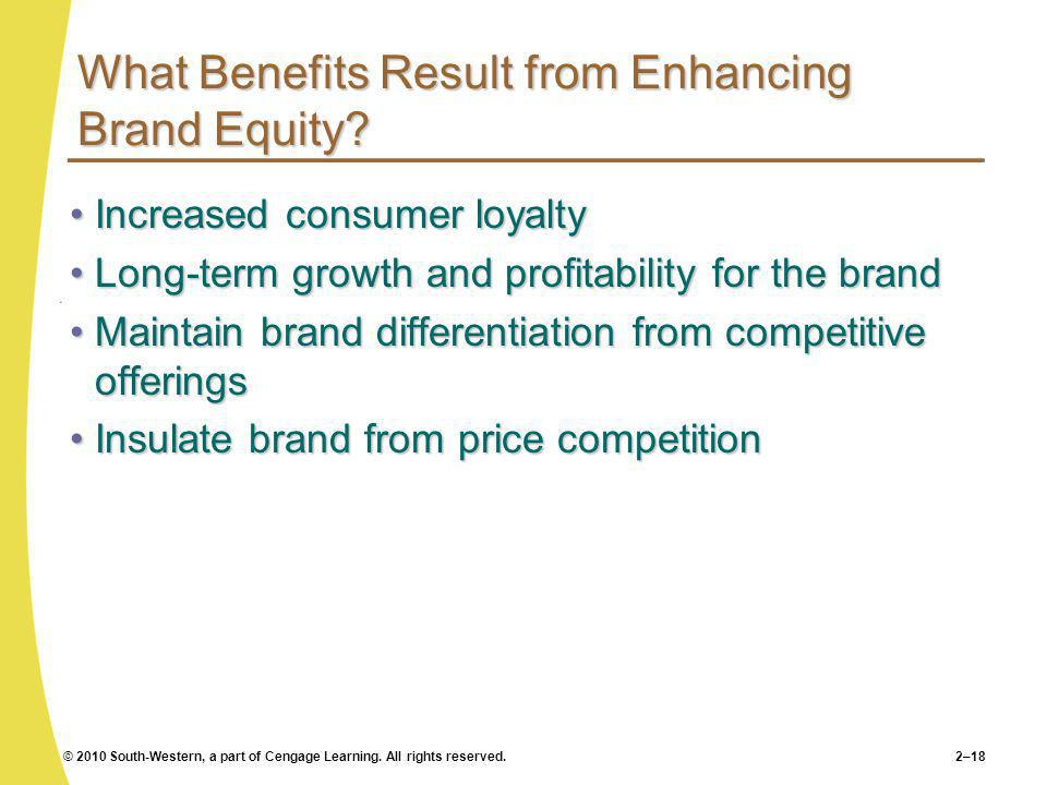 What Benefits Result from Enhancing Brand Equity