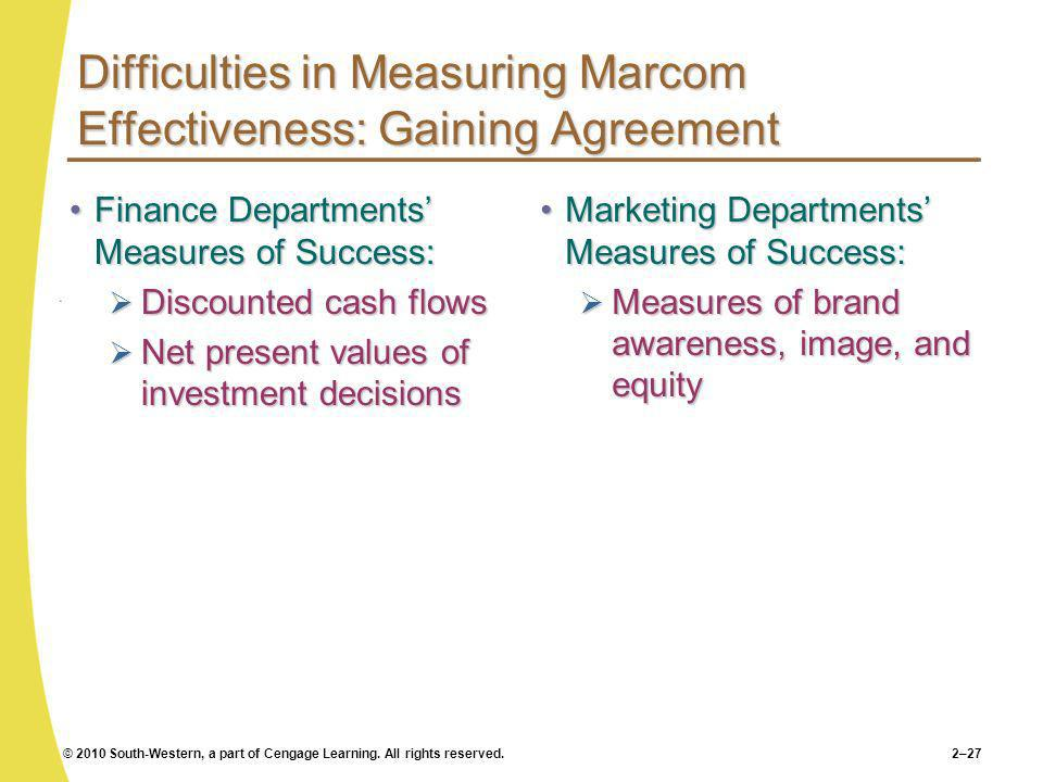 Difficulties in Measuring Marcom Effectiveness: Gaining Agreement