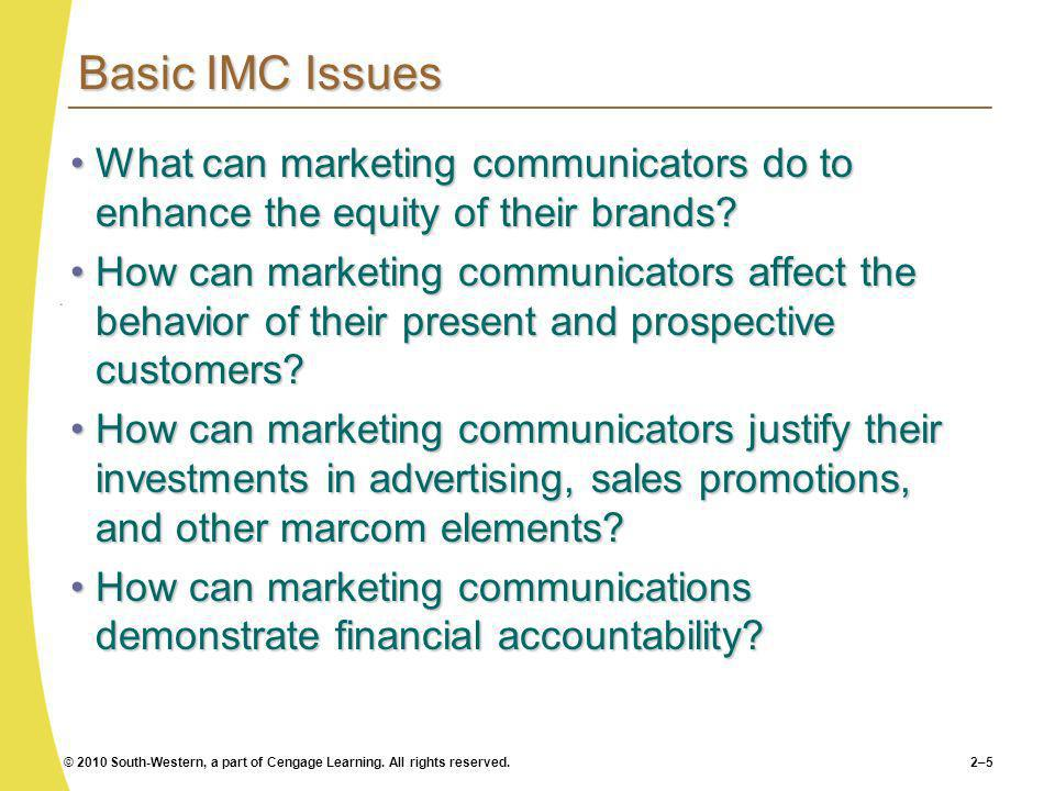 Basic IMC Issues What can marketing communicators do to enhance the equity of their brands