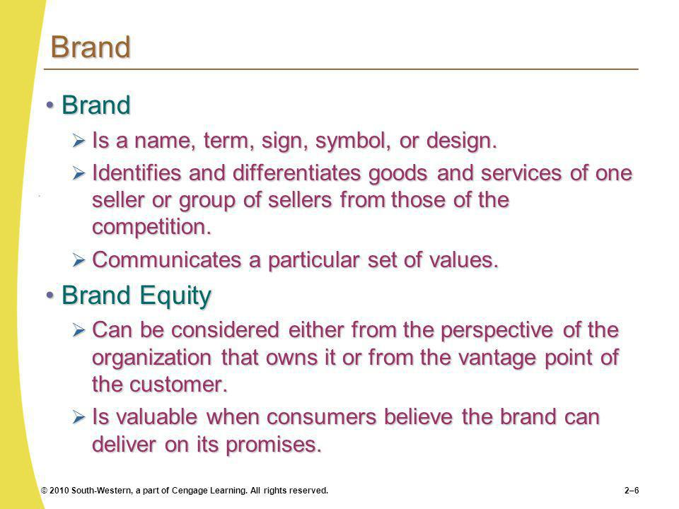Brand Brand Brand Equity Is a name, term, sign, symbol, or design.