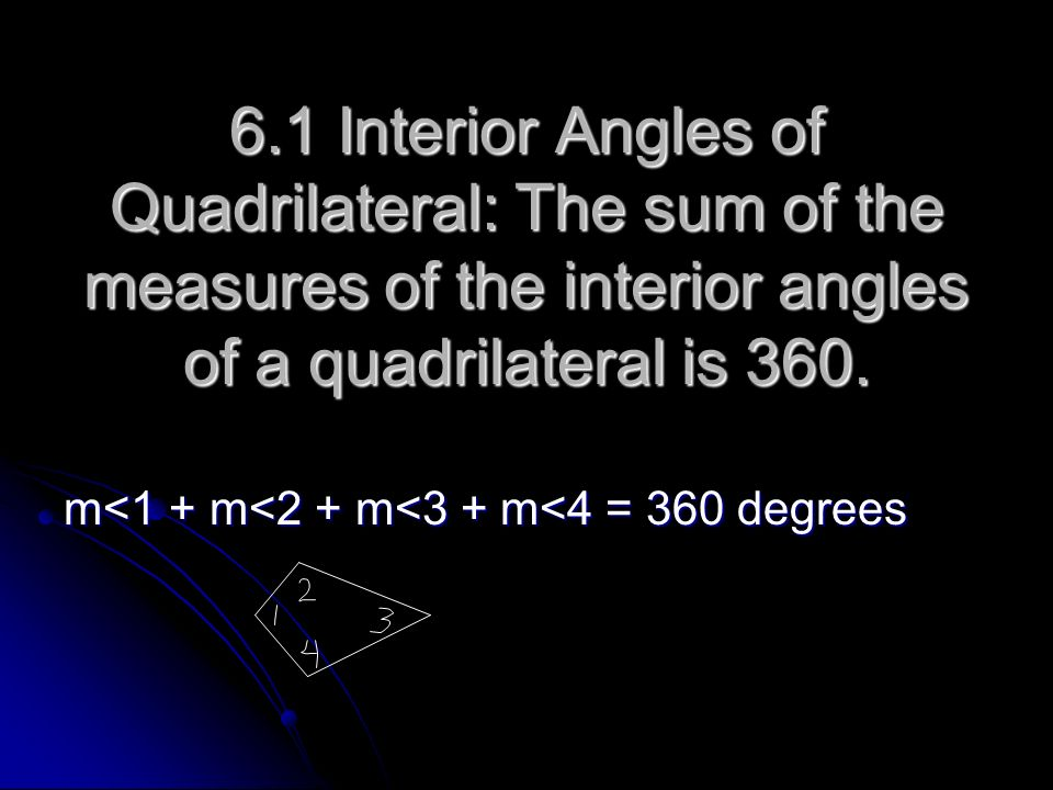 6.1 Interior Angles of Quadrilateral: The sum of the measures of the interior angles of a quadrilateral is 360.