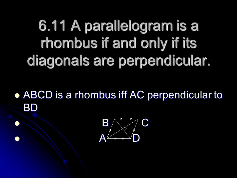 6.11 A parallelogram is a rhombus if and only if its diagonals are perpendicular.