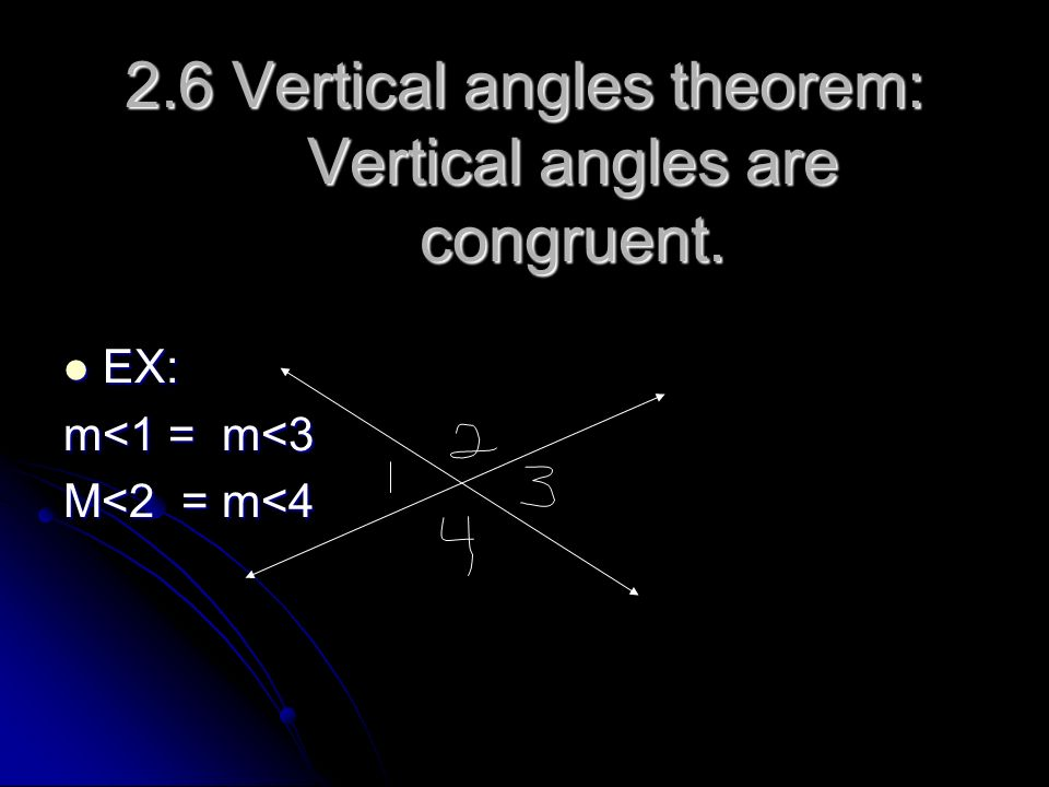 2.6 Vertical angles theorem: Vertical angles are congruent.
