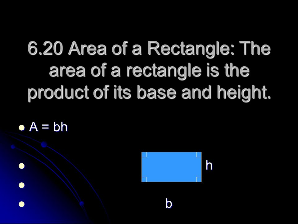 6.20 Area of a Rectangle: The area of a rectangle is the product of its base and height.