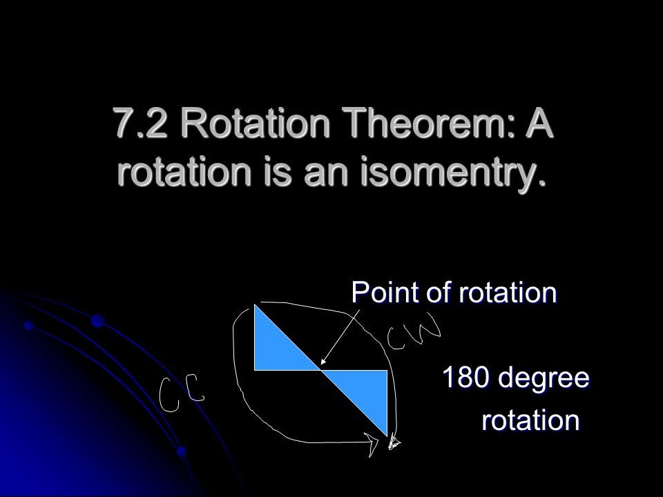 7.2 Rotation Theorem: A rotation is an isomentry.