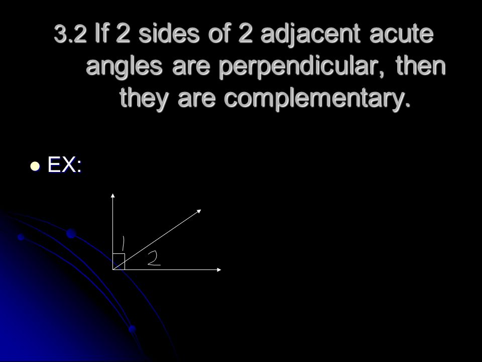 3.2 If 2 sides of 2 adjacent acute angles are perpendicular, then they are complementary.