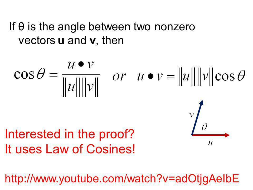 Interested in the proof It uses Law of Cosines!