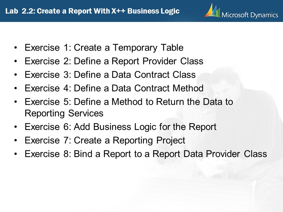 Lab 2.2: Create a Report With X++ Business Logic