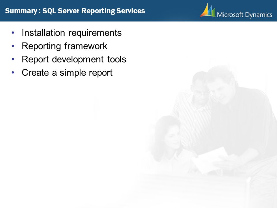 Summary : SQL Server Reporting Services