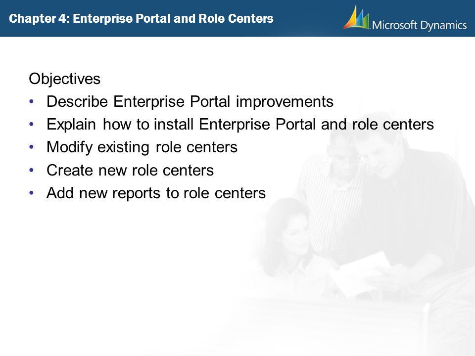 Chapter 4: Enterprise Portal and Role Centers