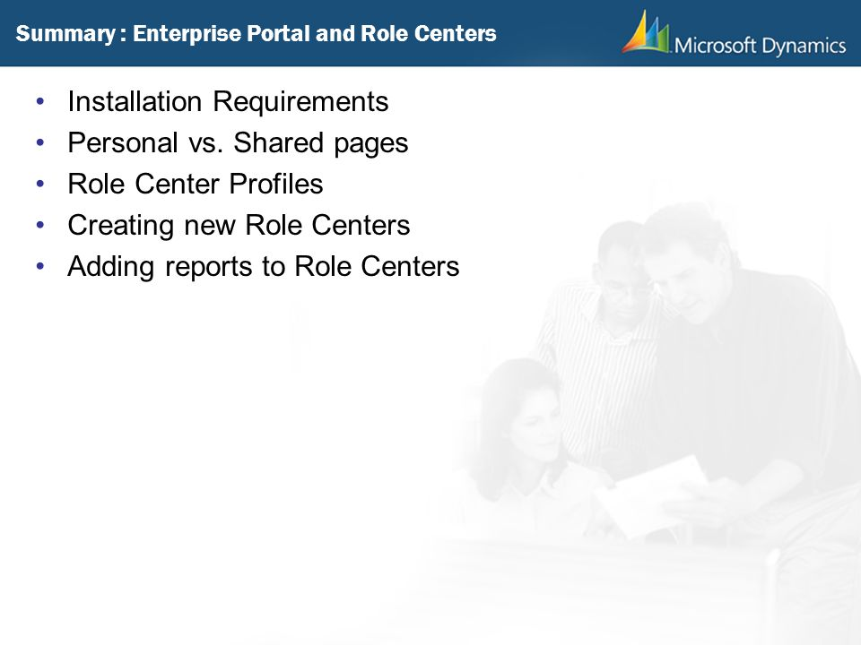 Summary : Enterprise Portal and Role Centers