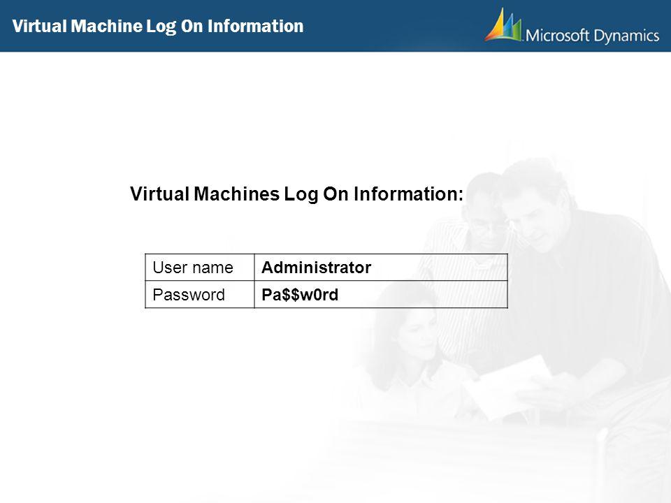Virtual Machine Log On Information