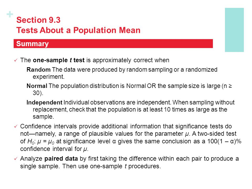 Section 9.3 Tests About a Population Mean