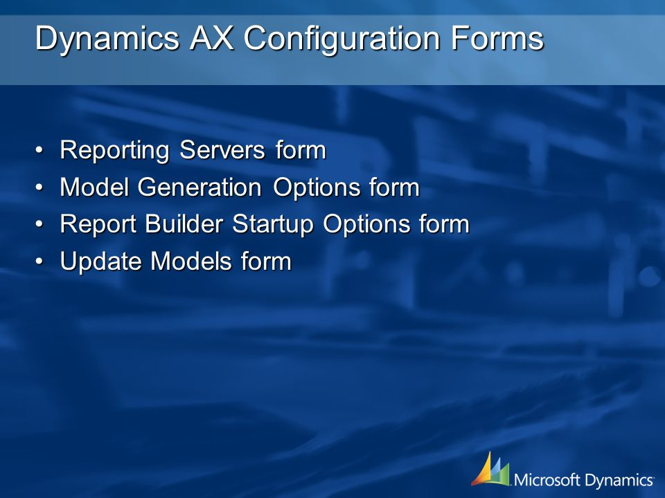 Dynamics AX Configuration Forms