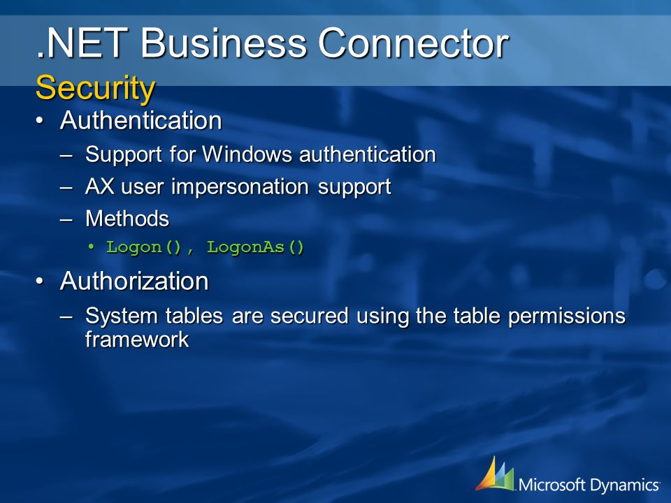 .NET Business Connector Security