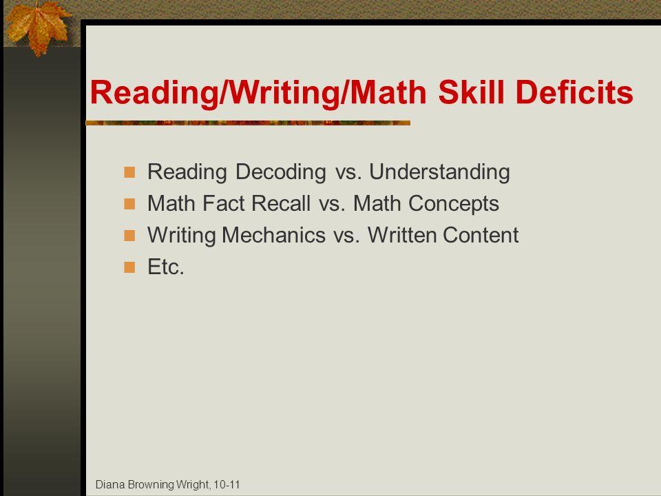 Reading/Writing/Math Skill Deficits