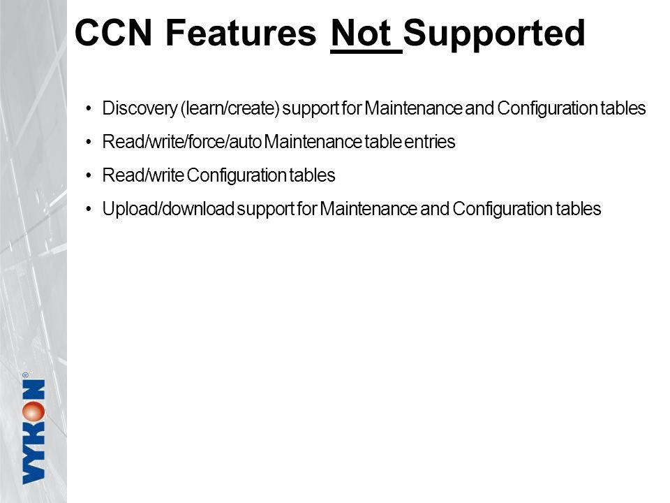 CCN Features Not Supported