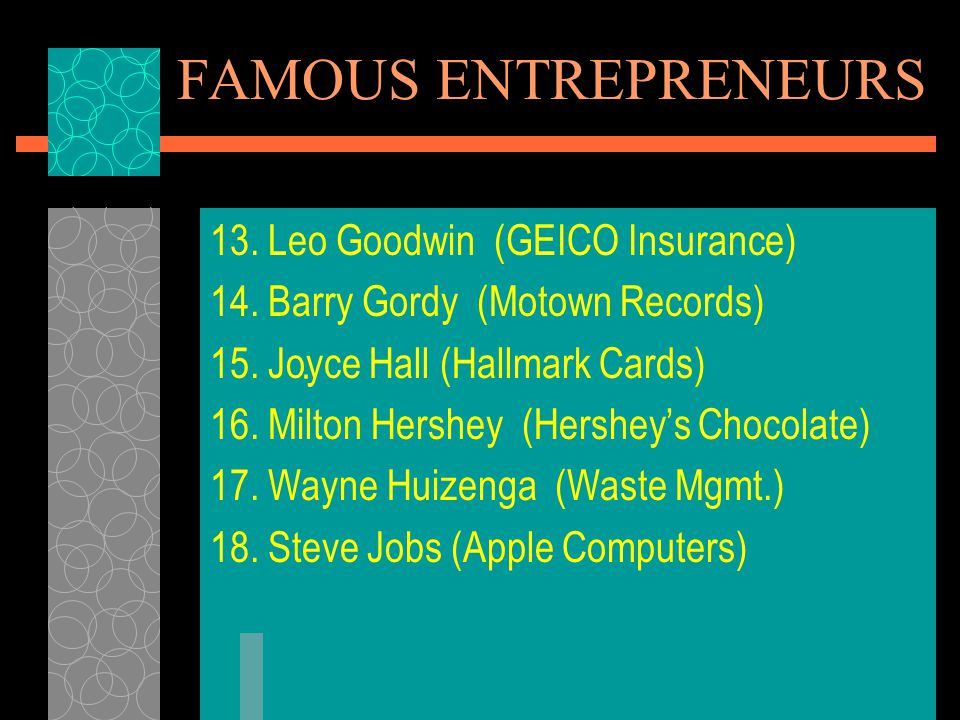FAMOUS ENTREPRENEURS 13. Leo Goodwin (GEICO Insurance)
