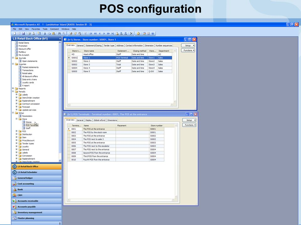 POS configuration