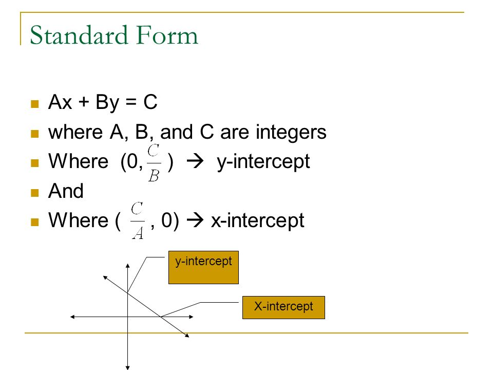 Standard Form Ax + By = C where A, B, and C are integers