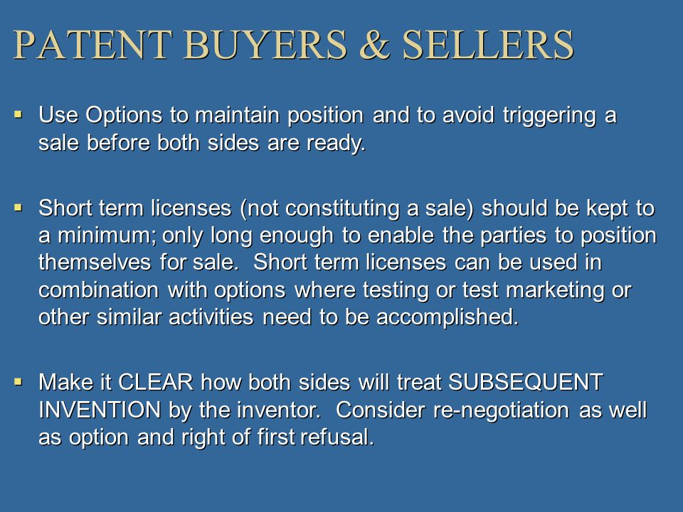 PATENT BUYERS & SELLERS