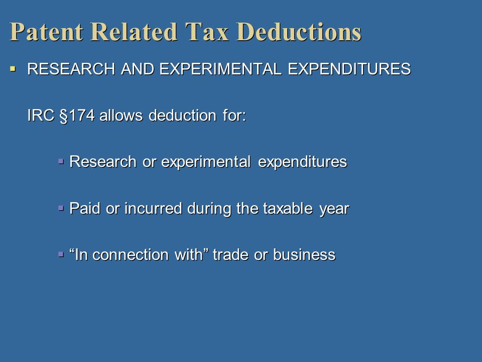 Patent Related Tax Deductions