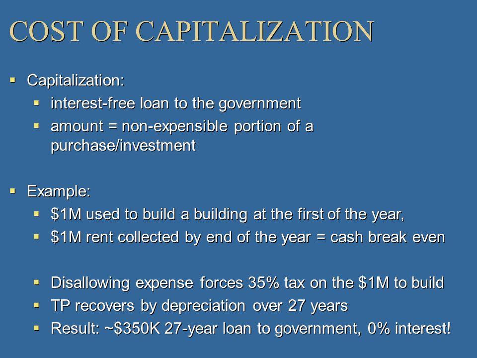 COST OF CAPITALIZATION