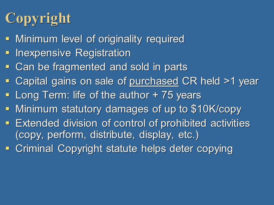 Copyright Minimum level of originality required