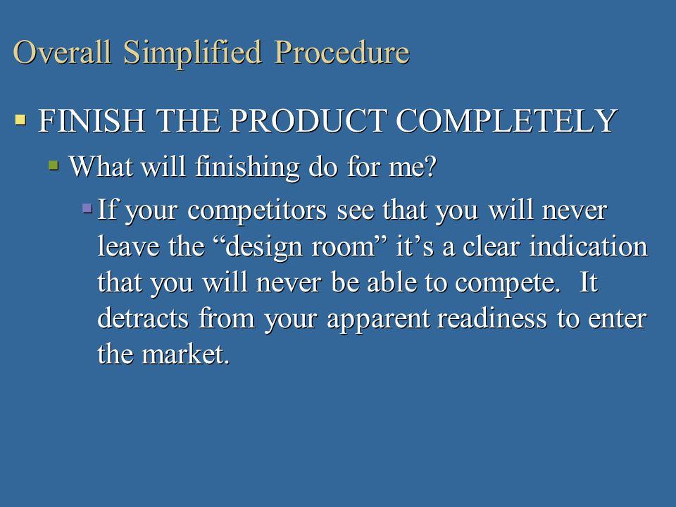 Overall Simplified Procedure